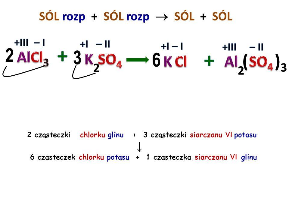 SÓL rozp + SÓL rozp  SÓL + 2 cząsteczki chlorku żelaza III + 3 cząsteczki siarczanu VI cynku ↓ 3 cząsteczki chlorku cynku + 1 cząsteczka siarczanu VI