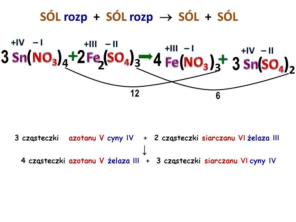SÓL rozp + SÓL rozp  SÓL + 2 cząsteczki azotanu V sodu + 1 cząsteczka siarczanu VI cynku ↓ 1 cząsteczka azotanu V cynku + 1 cząsteczka siarczanu VI s