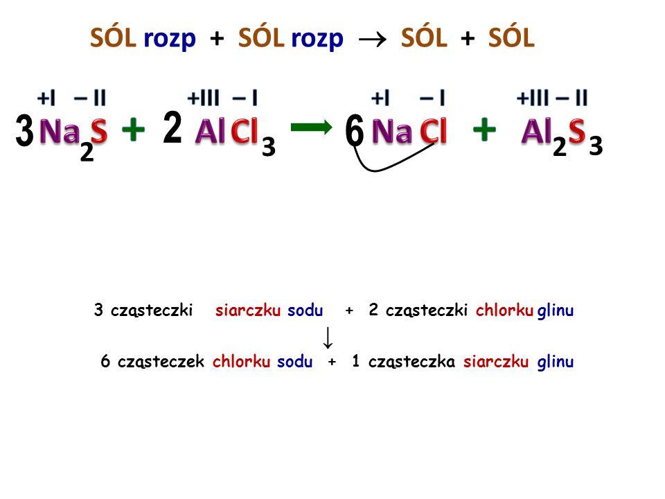SÓL rozp + SÓL rozp  SÓL + 12 6 3 cząsteczki azotanu V cyny IV + 2 cząsteczki siarczanu VI żelaza III ↓ 4 cząsteczki azotanu V żelaza III + 3 cząstec