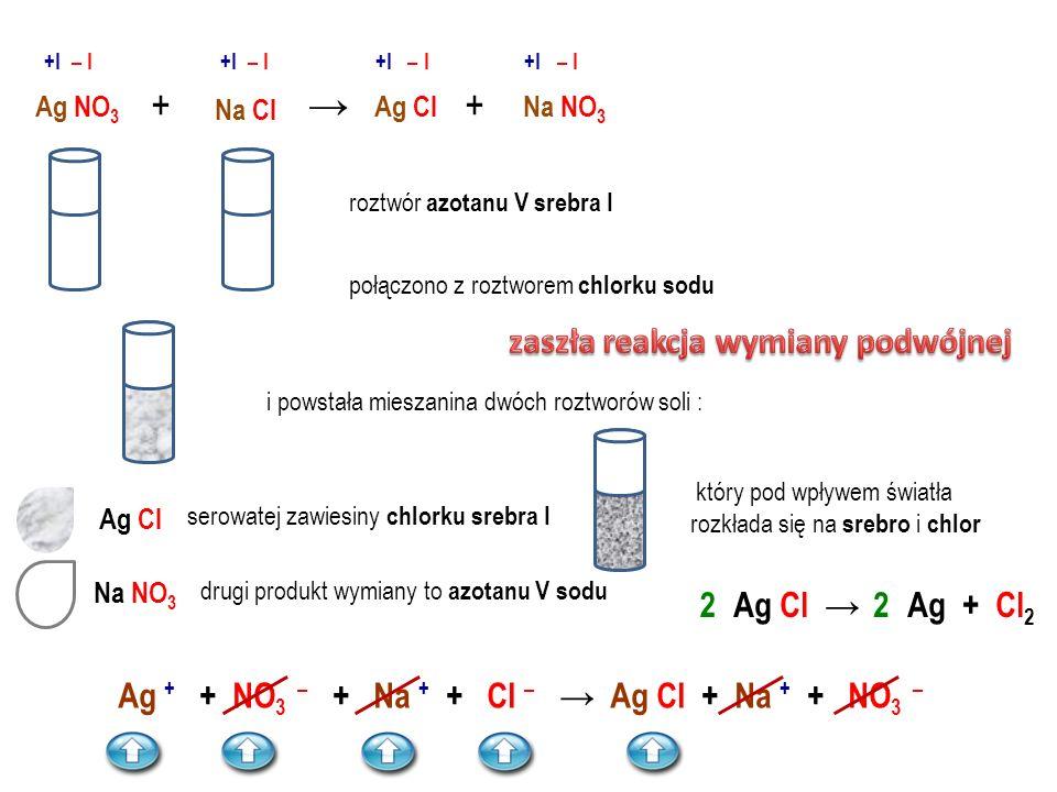 Ca SO 4 Cu SO 4 Ca Cl 2 Cu Cl 2 +→ +II – II +II – I +II – II +II – I Ca SO 4 Cu Cl 2 + roztwór siarczanu VI miedzi II połączono z roztworem chlorku wa