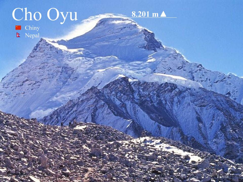 Daktylek Czo Oju, Cho-Oyu - to szósty pod względem wysokości szczyt świata - 8201 m n.p.m.. Leży w głównej grani Himalajów Wysokich, na północny zachó