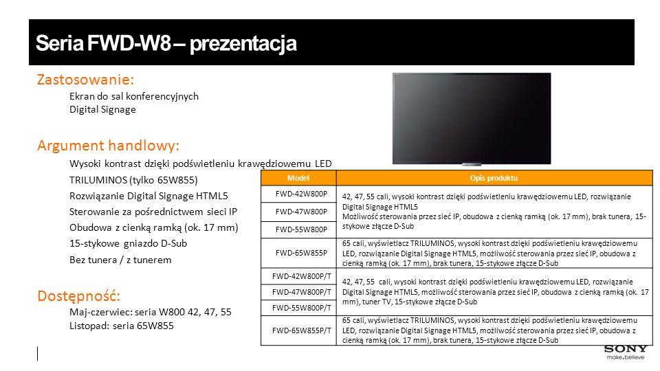 Oferta profesjonalnych płaskich wyświetlaczy w roku 2013 FWD-S42H2 FWD-S46H2 Monitory wielkoformat owe Do wymagających zastosowań Digital Signage BRAVIA Monitor profesjonalny Do wyświetlania prezentacji i reklam przy wejściu Seria FWD-S – modele o zaawansowanych możliwościach Seria FWD-B – modele podstawowe 42 / 46 / 55 cali 42 / 46 cali FWD-S42B2 FWD-S46B2 FWD-S55B2 Profesjonalny monitor BRAVIA Profesjonalny telewizor BRAVIA 42 / 47 / 55 / 65inch Profesjonalny telewizor 4K BRAVIA 55 / 65 / 84 cali 4247 55 6542 47 55 65 55 65 84