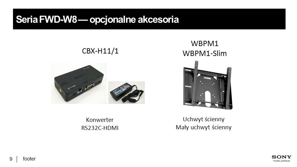 footer 9 Seria FWD-W8 — opcjonalne akcesoria CBX-H11/1 WBPM1 WBPM1-Slim Konwerter RS232C-HDMI Uchwyt ścienny Mały uchwyt ścienny