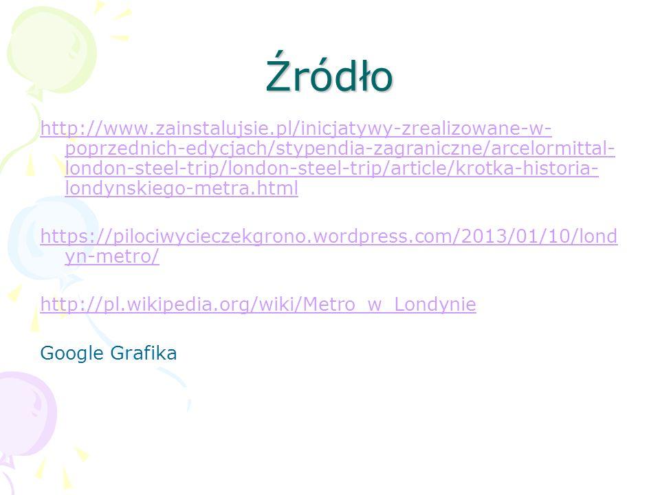 Źródło http://www.zainstalujsie.pl/inicjatywy-zrealizowane-w- poprzednich-edycjach/stypendia-zagraniczne/arcelormittal- london-steel-trip/london-steel-trip/article/krotka-historia- londynskiego-metra.html https://pilociwycieczekgrono.wordpress.com/2013/01/10/lond yn-metro/ http://pl.wikipedia.org/wiki/Metro_w_Londynie Google Grafika