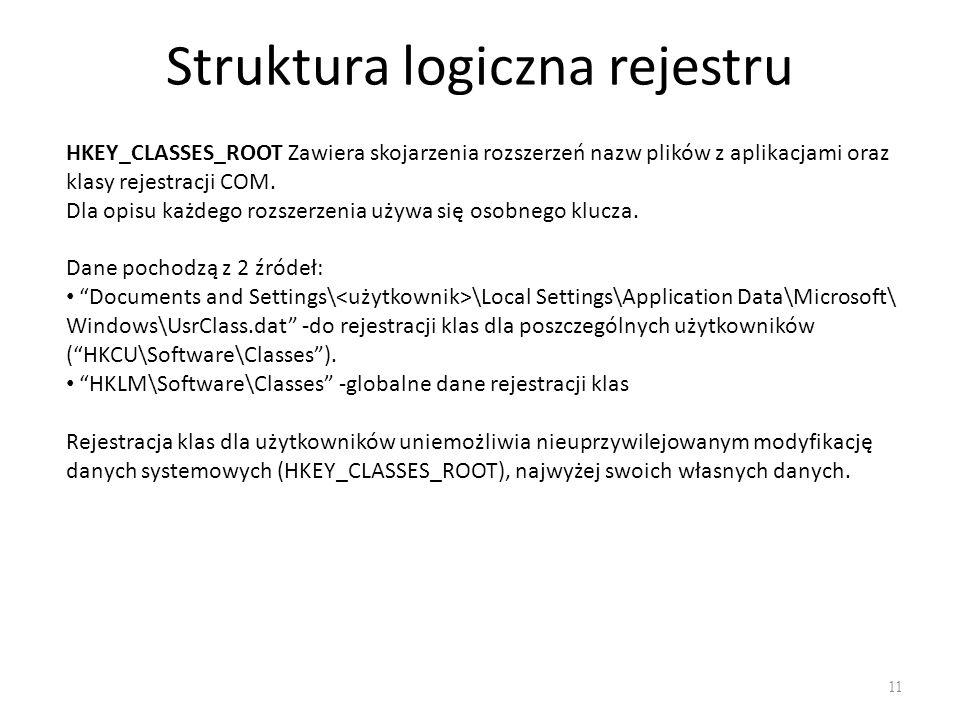 Struktura logiczna rejestru 11 HKEY_CLASSES_ROOT Zawiera skojarzenia rozszerzeń nazw plików z aplikacjami oraz klasy rejestracji COM. Dla opisu każdeg
