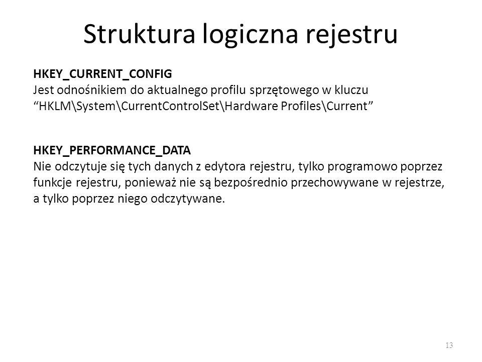 """Struktura logiczna rejestru 13 HKEY_CURRENT_CONFIG Jest odnośnikiem do aktualnego profilu sprzętowego w kluczu """"HKLM\System\CurrentControlSet\Hardware"""
