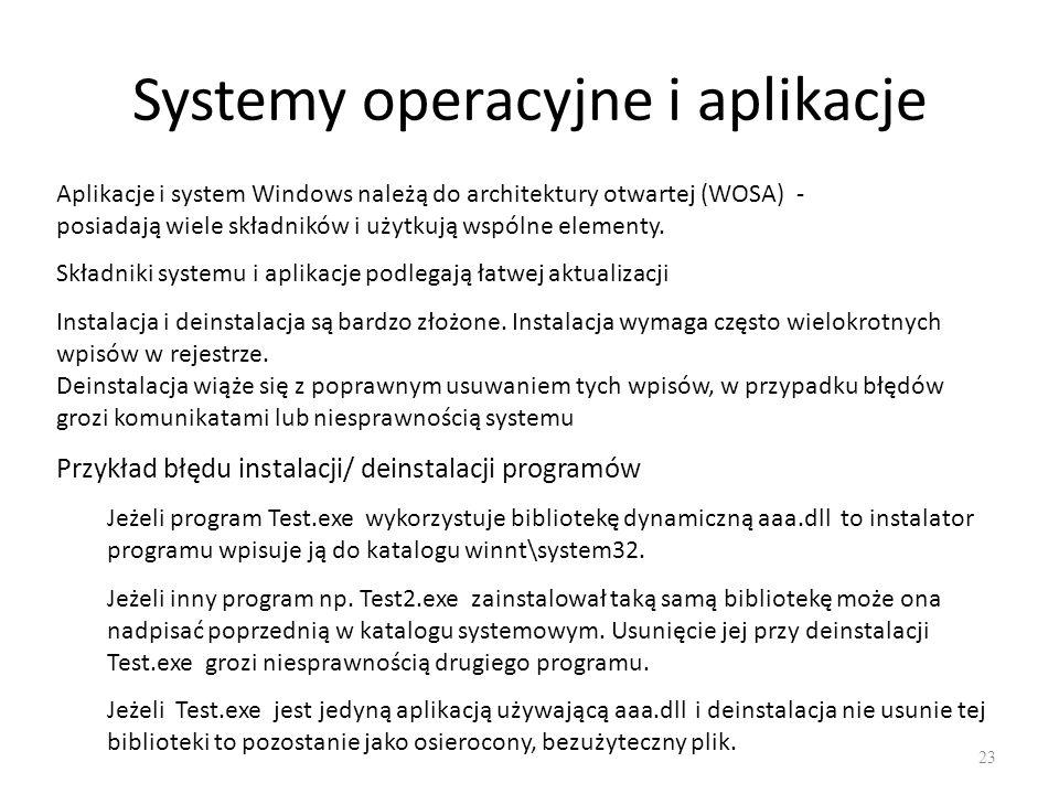 Systemy operacyjne i aplikacje 23 Aplikacje i system Windows należą do architektury otwartej (WOSA) - posiadają wiele składników i użytkują wspólne el