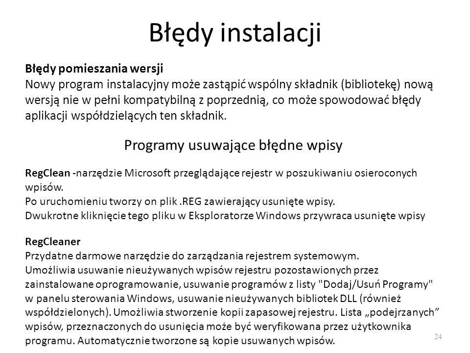 Błędy instalacji 24 Błędy pomieszania wersji Nowy program instalacyjny może zastąpić wspólny składnik (bibliotekę) nową wersją nie w pełni kompatybiln