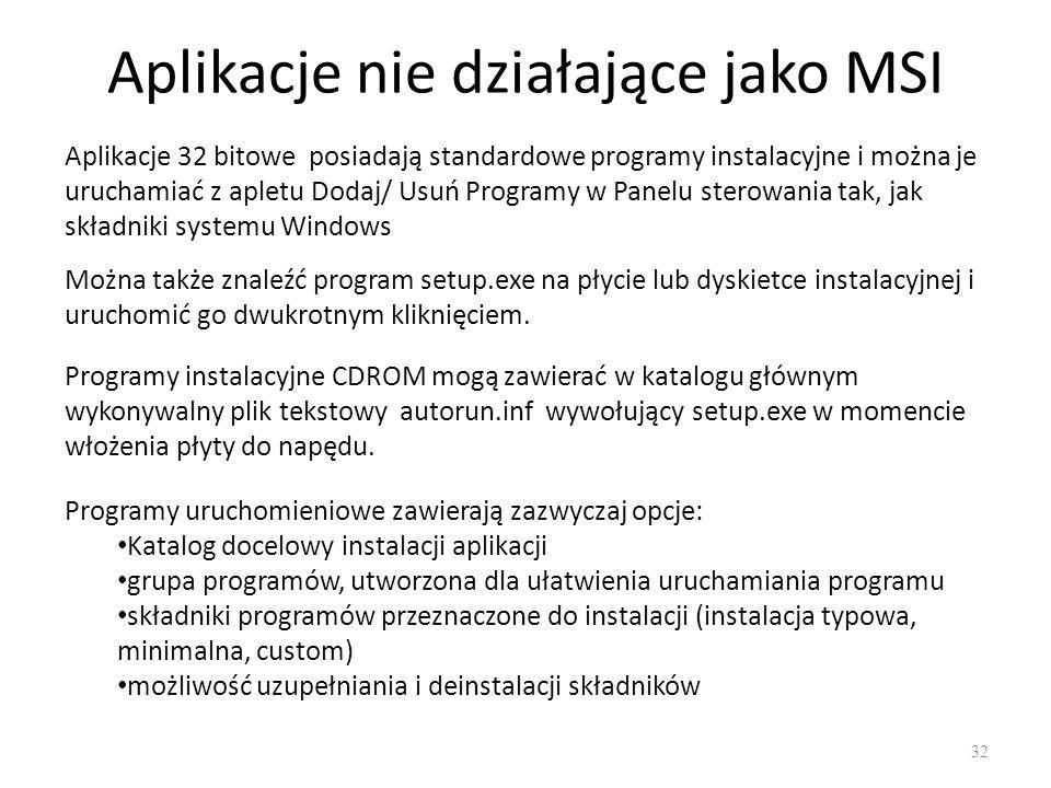 Aplikacje nie działające jako MSI 32 Aplikacje 32 bitowe posiadają standardowe programy instalacyjne i można je uruchamiać z apletu Dodaj/ Usuń Progra