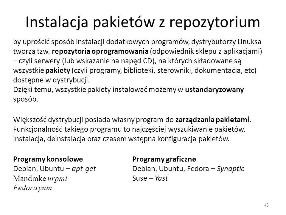 Instalacja pakietów z repozytorium 43 by uprościć sposób instalacji dodatkowych programów, dystrybutorzy Linuksa tworzą tzw. repozytoria oprogramowani