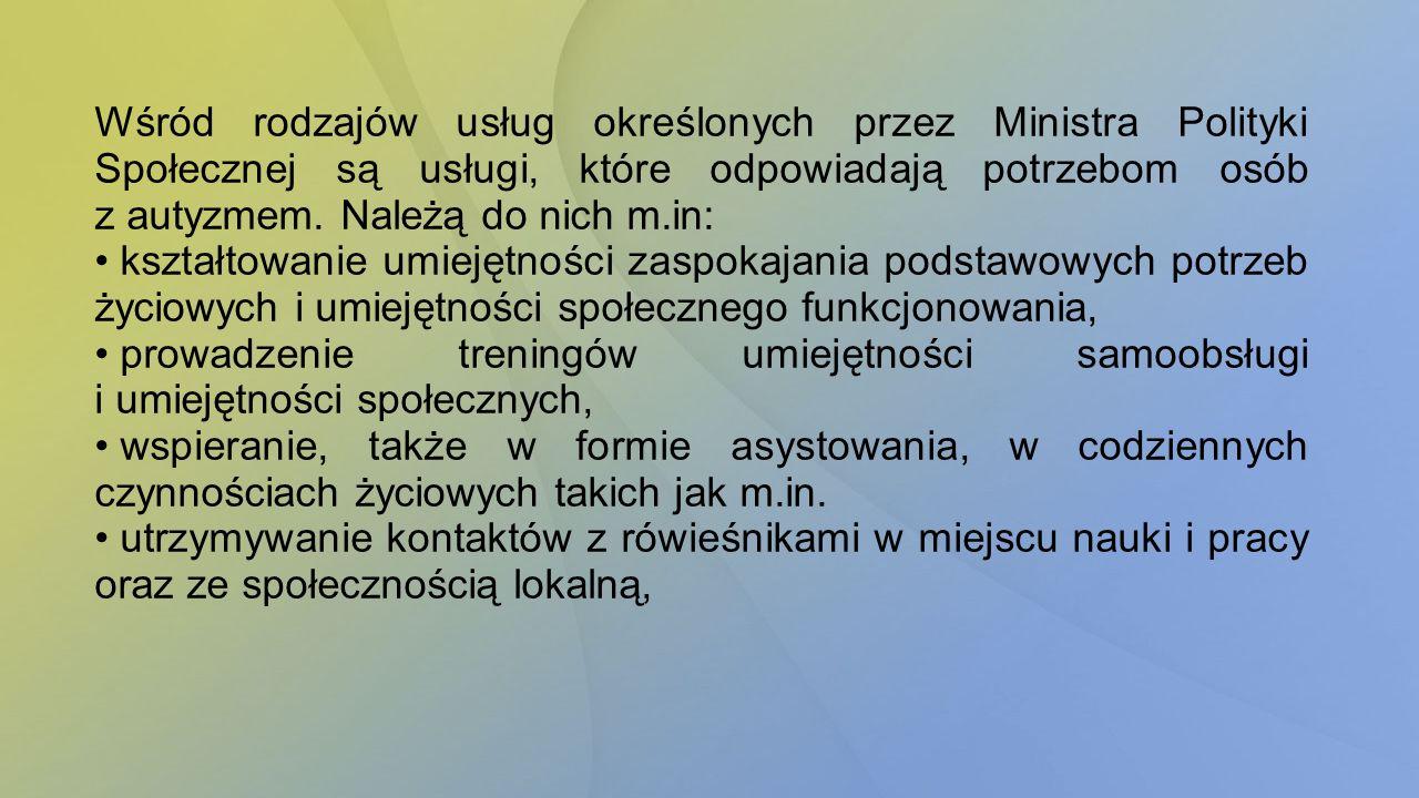 Wśród rodzajów usług określonych przez Ministra Polityki Społecznej są usługi, które odpowiadają potrzebom osób z autyzmem. Należą do nich m.in: kszta