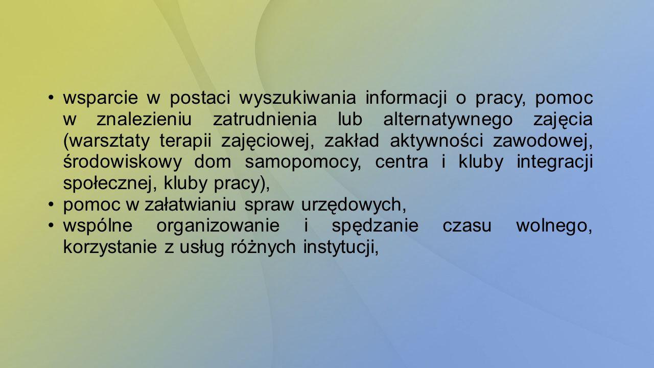 wsparcie w postaci wyszukiwania informacji o pracy, pomoc w znalezieniu zatrudnienia lub alternatywnego zajęcia (warsztaty terapii zajęciowej, zakład