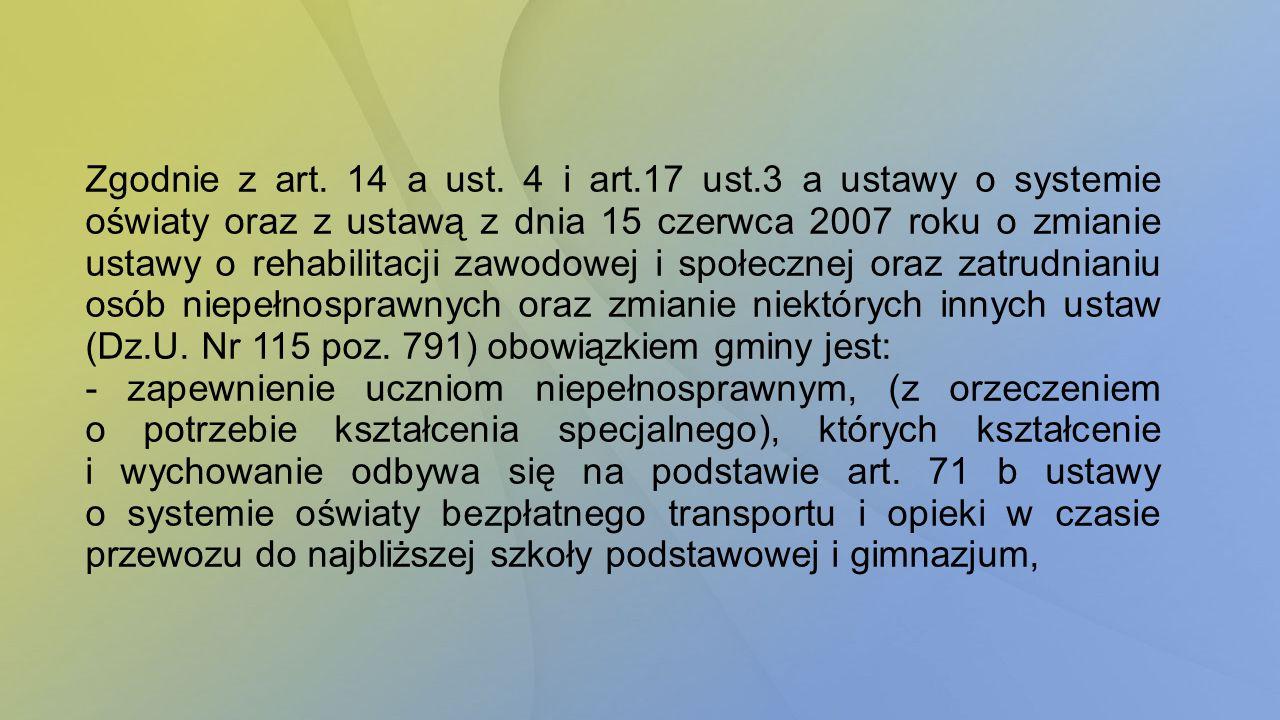 Zgodnie z art. 14 a ust. 4 i art.17 ust.3 a ustawy o systemie oświaty oraz z ustawą z dnia 15 czerwca 2007 roku o zmianie ustawy o rehabilitacji zawod