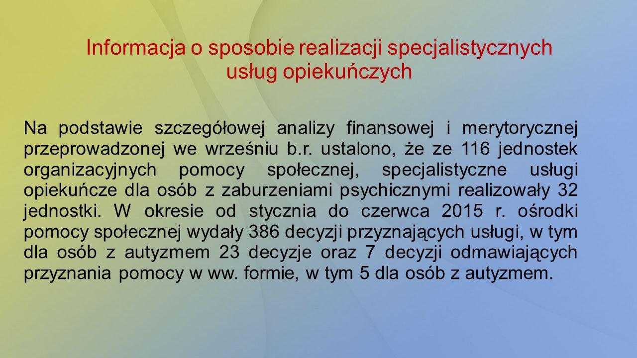 Informacja o sposobie realizacji specjalistycznych usług opiekuńczych Na podstawie szczegółowej analizy finansowej i merytorycznej przeprowadzonej we