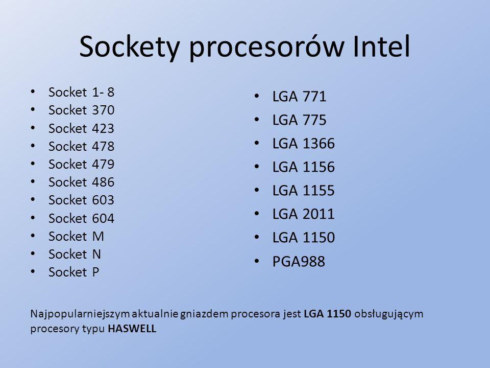 Sockety procesorów Intel Socket 1- 8 Socket 370 Socket 423 Socket 478 Socket 479 Socket 486 Socket 603 Socket 604 Socket M Socket N Socket P LGA 771 LGA 775 LGA 1366 LGA 1156 LGA 1155 LGA 2011 LGA 1150 PGA988 Najpopularniejszym aktualnie gniazdem procesora jest LGA 1150 obsługującym procesory typu HASWELL