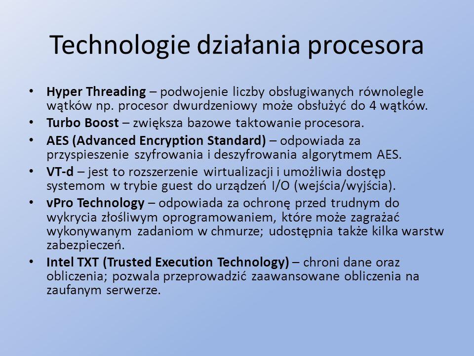 Technologie działania procesora Hyper Threading – podwojenie liczby obsługiwanych równolegle wątków np.