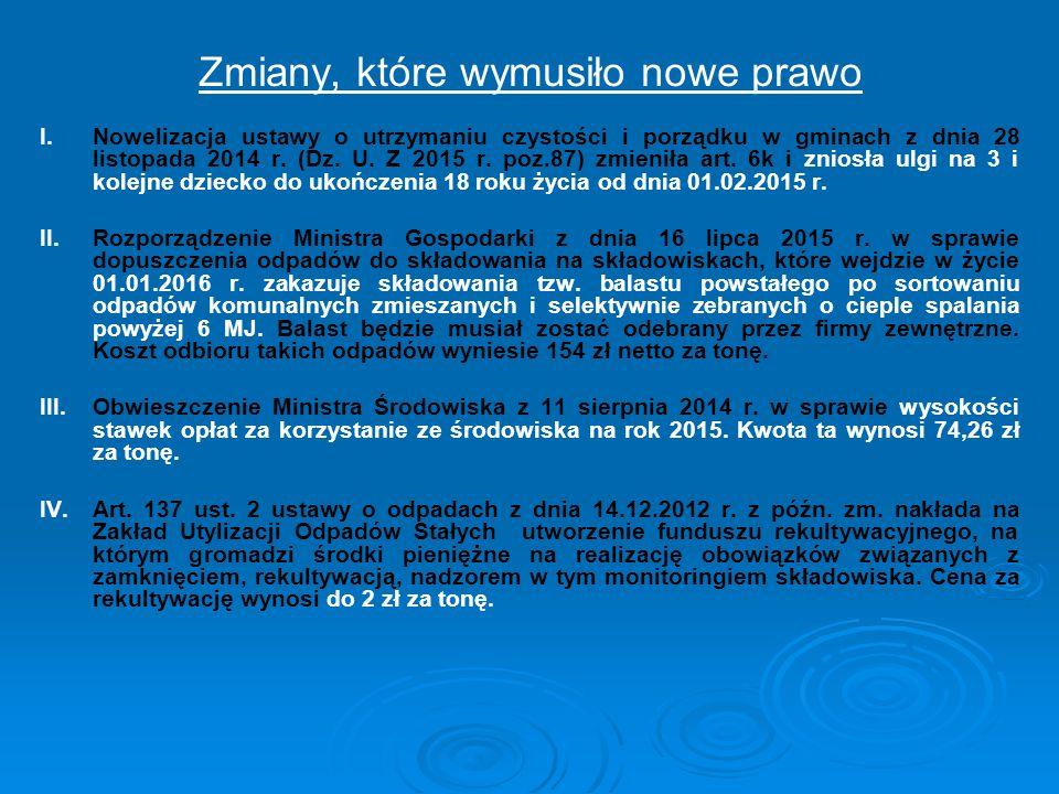 Zmiany, które wymusiło nowe prawo I. I.Nowelizacja ustawy o utrzymaniu czystości i porządku w gminach z dnia 28 listopada 2014 r. (Dz. U. Z 2015 r. po