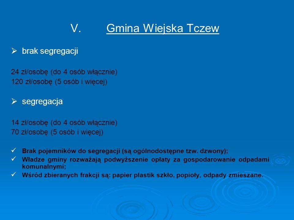 V. V.Gmina Wiejska Tczew   brak segregacji 24 zł/osobę (do 4 osób włącznie) 120 zł/osobę (5 osób i więcej)   segregacja 14 zł/osobę (do 4 osób włą