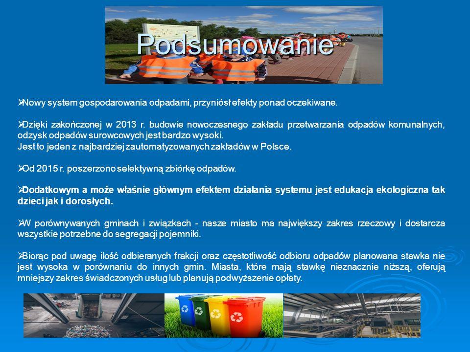 Podsumowanie  Nowy system gospodarowania odpadami, przyniósł efekty ponad oczekiwane.  Dzięki zakończonej w 2013 r. budowie nowoczesnego zakładu prz