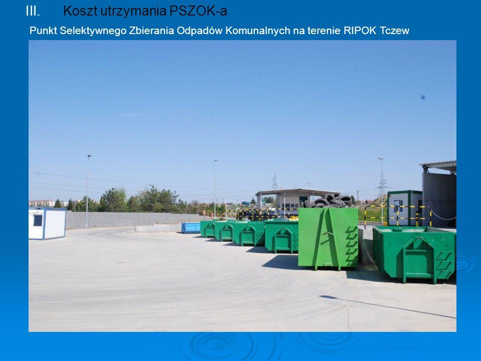 III.Koszt utrzymania PSZOK-a Punkt Selektywnego Zbierania Odpadów Komunalnych na terenie RIPOK Tczew