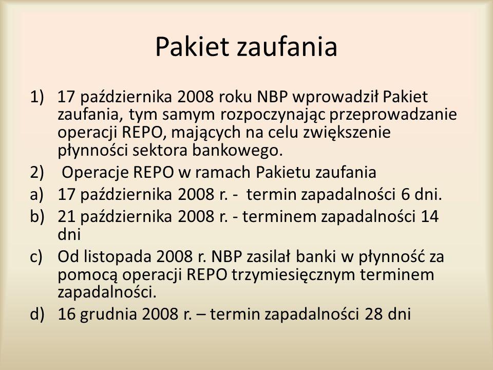 Pakiet zaufania 1) 17 października 2008 roku NBP wprowadził Pakiet zaufania, tym samym rozpoczynając przeprowadzanie operacji REPO, mających na celu z