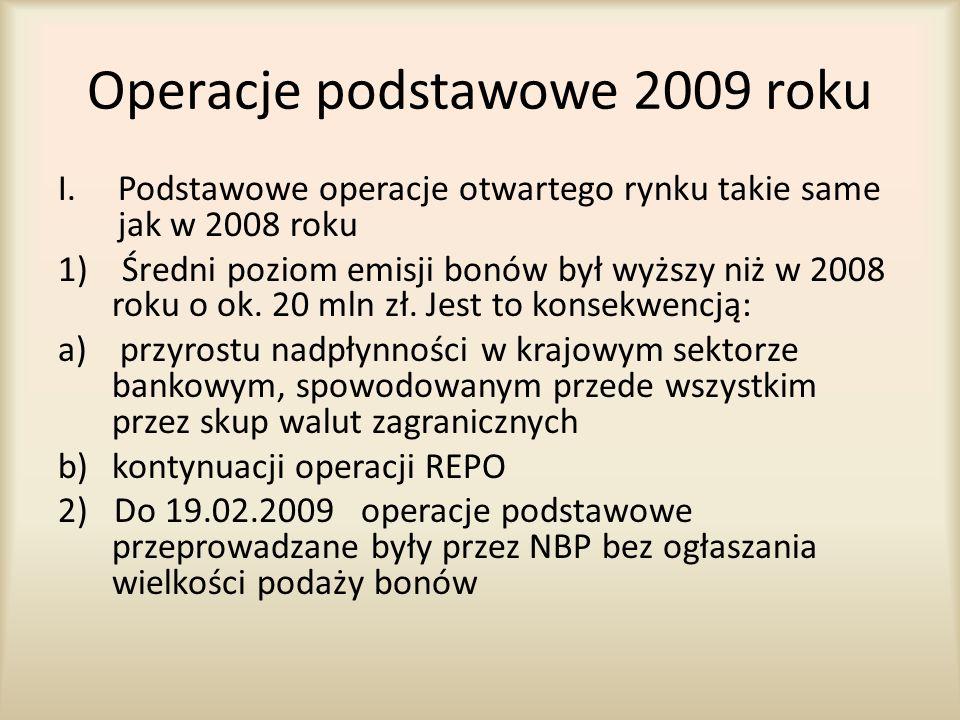 Operacje podstawowe 2009 roku I.Podstawowe operacje otwartego rynku takie same jak w 2008 roku 1) Średni poziom emisji bonów był wyższy niż w 2008 rok