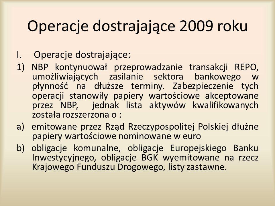 Operacje dostrajające 2009 roku I.Operacje dostrajające : 1) NBP kontynuował przeprowadzanie transakcji REPO, umożliwiających zasilanie sektora bankow
