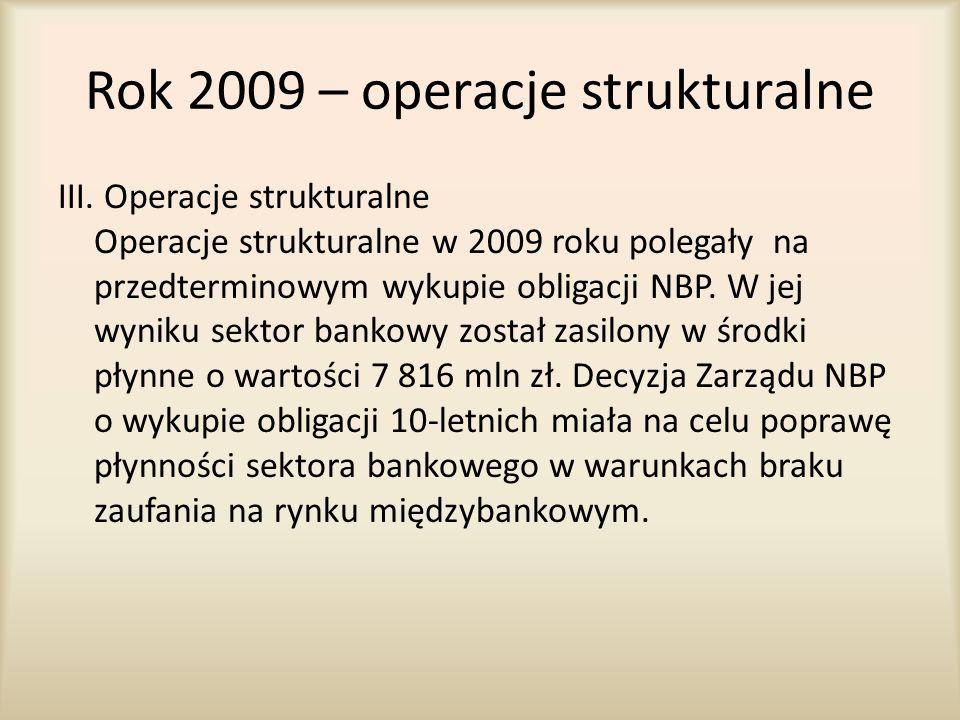Rok 2009 – operacje strukturalne III. Operacje strukturalne Operacje strukturalne w 2009 roku polegały na przedterminowym wykupie obligacji NBP. W jej