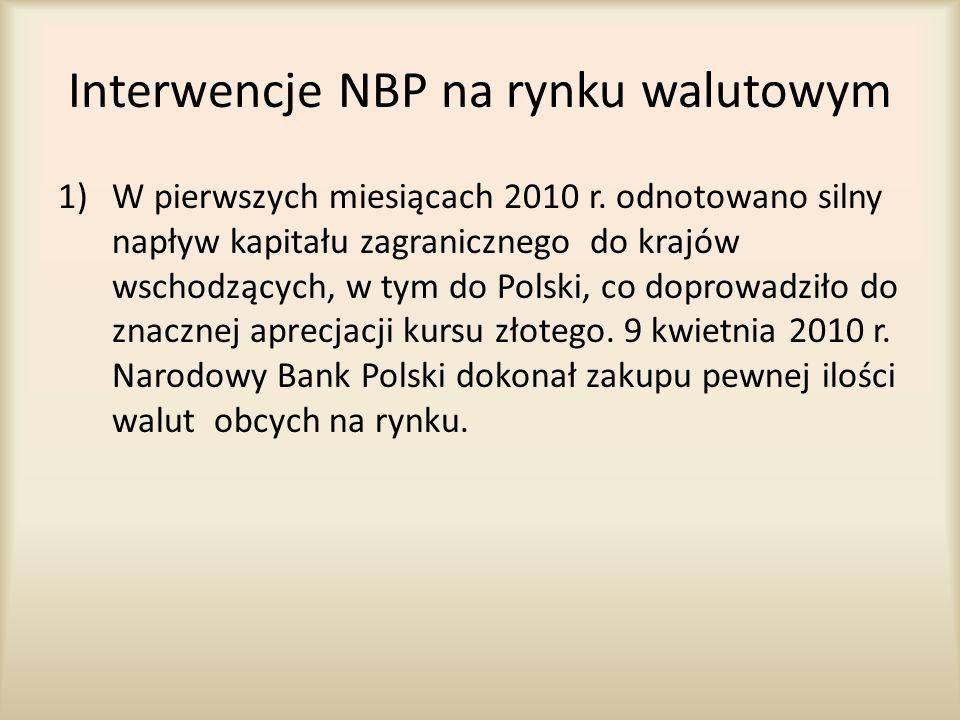 Interwencje NBP na rynku walutowym 1)W pierwszych miesiącach 2010 r. odnotowano silny napływ kapitału zagranicznego do krajów wschodzących, w tym do P