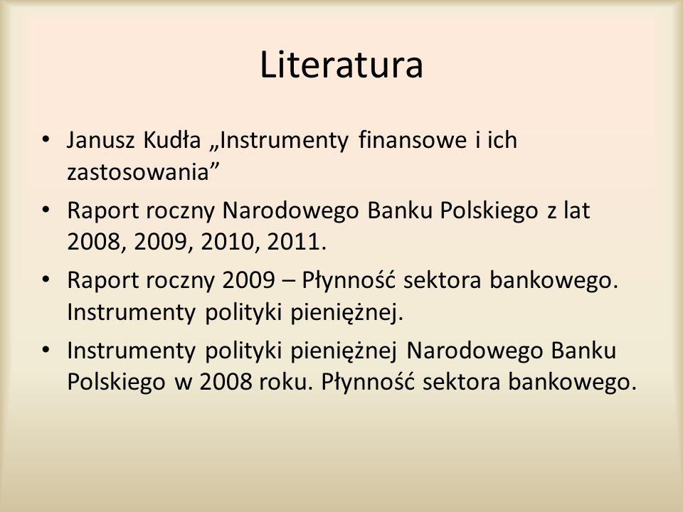 """Literatura Janusz Kudła """"Instrumenty finansowe i ich zastosowania"""" Raport roczny Narodowego Banku Polskiego z lat 2008, 2009, 2010, 2011. Raport roczn"""