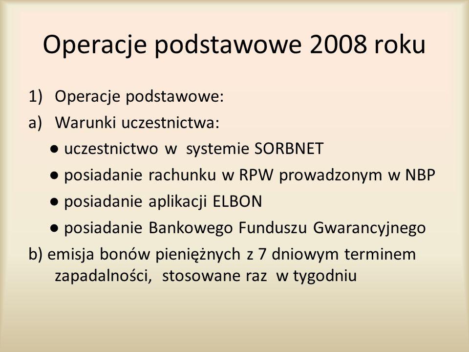 Operacje podstawowe 2008 roku 1)Operacje podstawowe: a)Warunki uczestnictwa: ● uczestnictwo w systemie SORBNET ● posiadanie rachunku w RPW prowadzonym