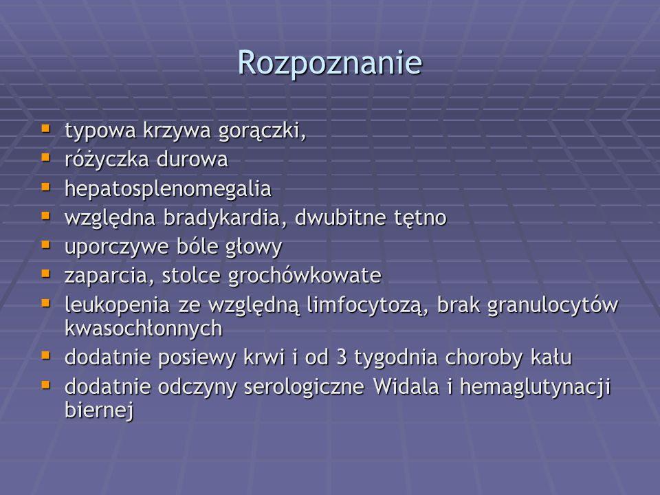Rozpoznanie  typowa krzywa gorączki,  różyczka durowa  hepatosplenomegalia  względna bradykardia, dwubitne tętno  uporczywe bóle głowy  zaparcia