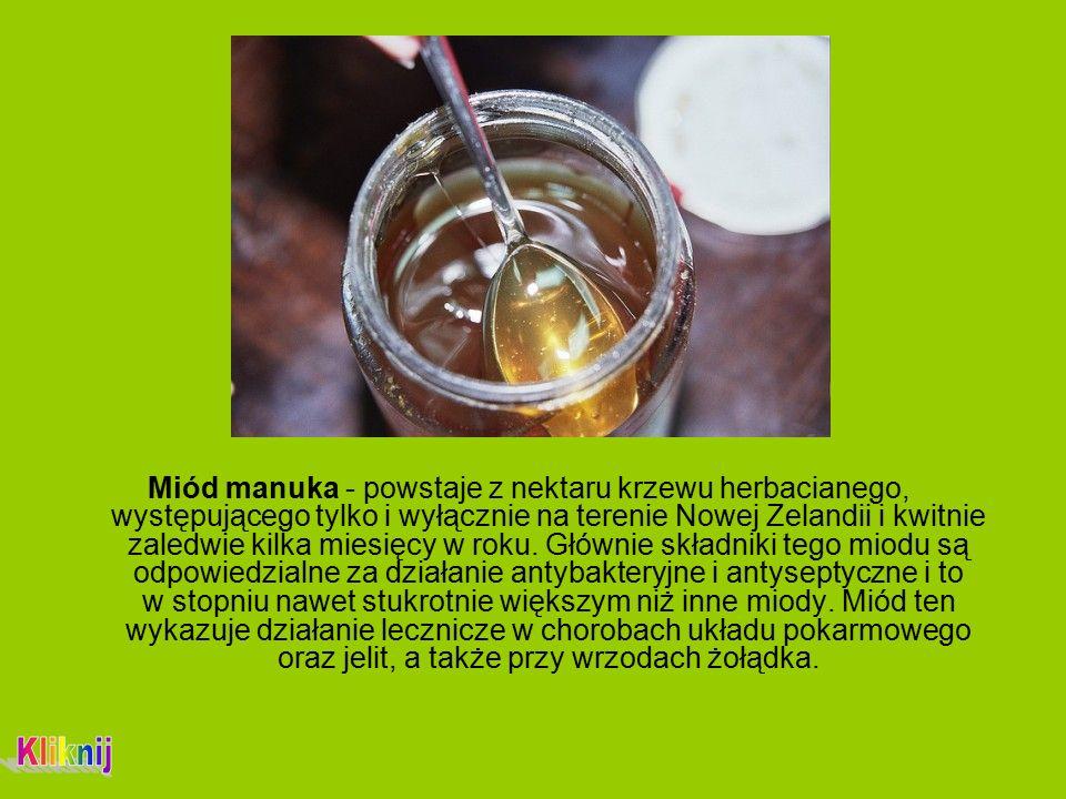 Miód manuka - powstaje z nektaru krzewu herbacianego, występującego tylko i wyłącznie na terenie Nowej Zelandii i kwitnie zaledwie kilka miesięcy w roku.