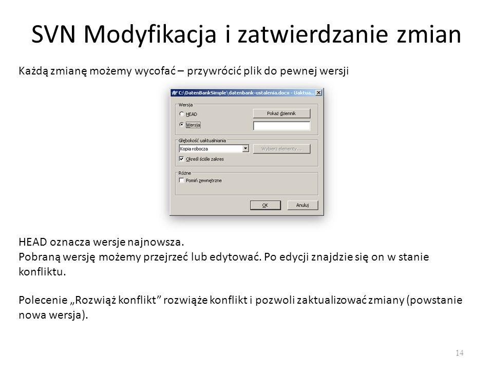 SVN Modyfikacja i zatwierdzanie zmian 14 Każdą zmianę możemy wycofać – przywrócić plik do pewnej wersji HEAD oznacza wersje najnowsza.