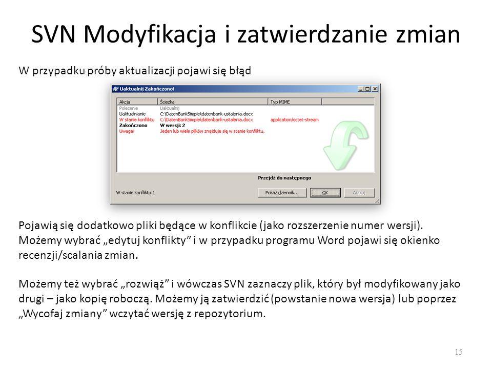 SVN Modyfikacja i zatwierdzanie zmian 15 W przypadku próby aktualizacji pojawi się błąd Pojawią się dodatkowo pliki będące w konflikcie (jako rozszerzenie numer wersji).