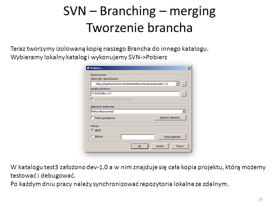 SVN – Branching – merging Tworzenie brancha 19 Teraz tworzymy izolowaną kopię naszego Brancha do innego katalogu.