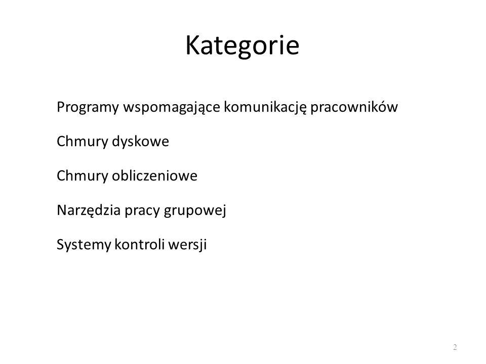 Kategorie 2 Programy wspomagające komunikację pracowników Chmury dyskowe Chmury obliczeniowe Narzędzia pracy grupowej Systemy kontroli wersji