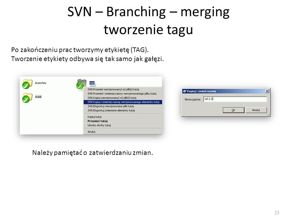 SVN – Branching – merging tworzenie tagu 23 Po zakończeniu prac tworzymy etykietę (TAG).