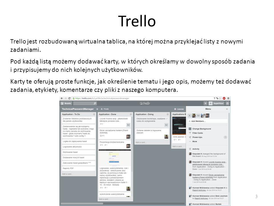 Trello 3 Trello jest rozbudowaną wirtualna tablica, na której można przyklejać listy z nowymi zadaniami.