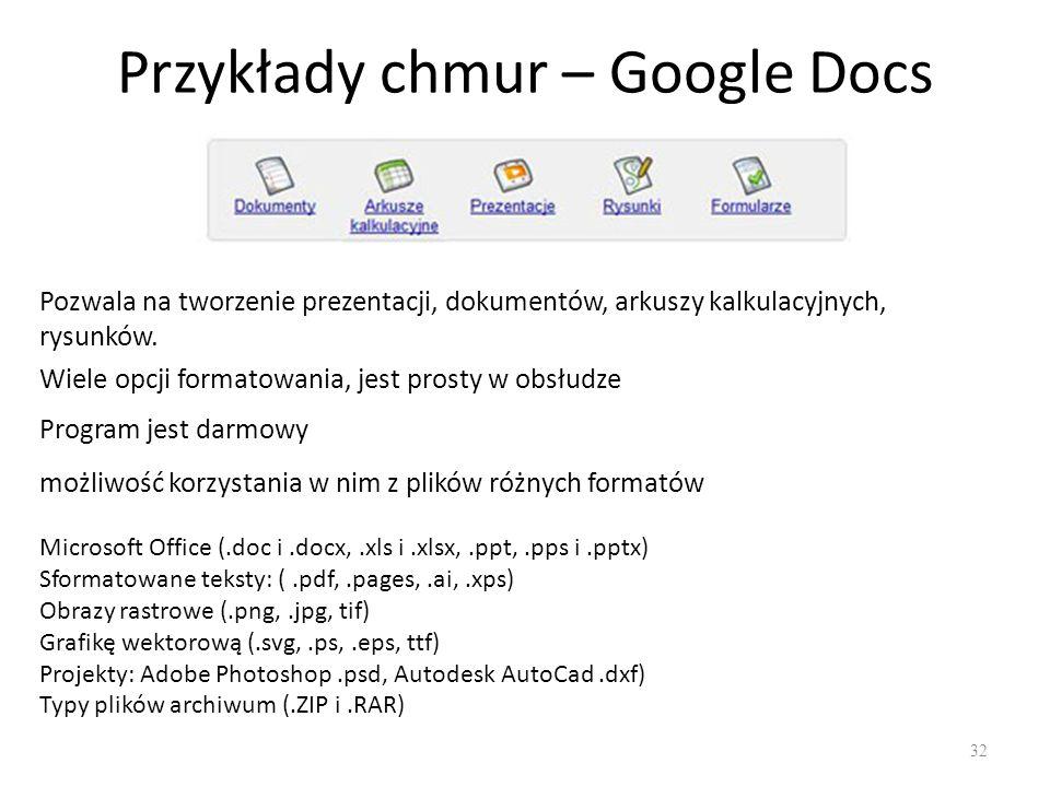 Przykłady chmur – Google Docs 32 Pozwala na tworzenie prezentacji, dokumentów, arkuszy kalkulacyjnych, rysunków.