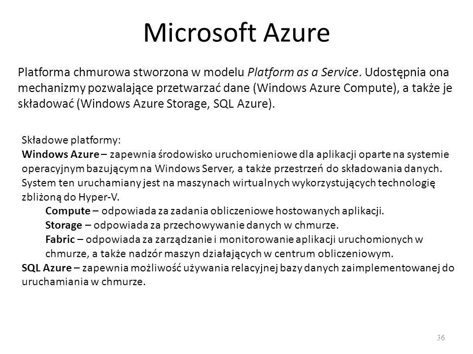 Microsoft Azure 36 Platforma chmurowa stworzona w modelu Platform as a Service.