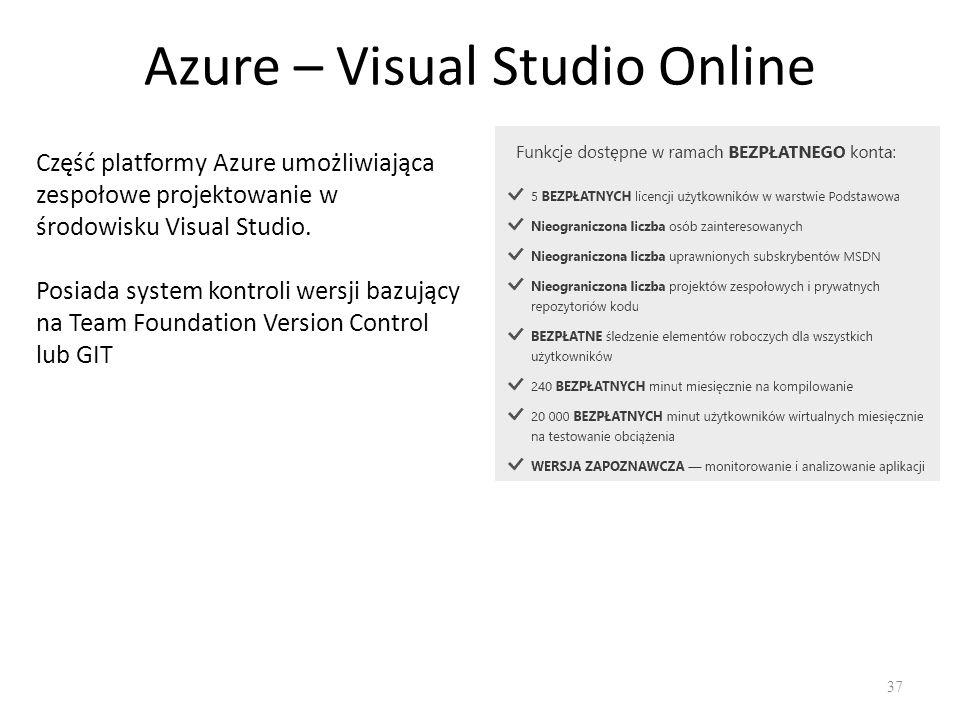 Azure – Visual Studio Online 37 Część platformy Azure umożliwiająca zespołowe projektowanie w środowisku Visual Studio.