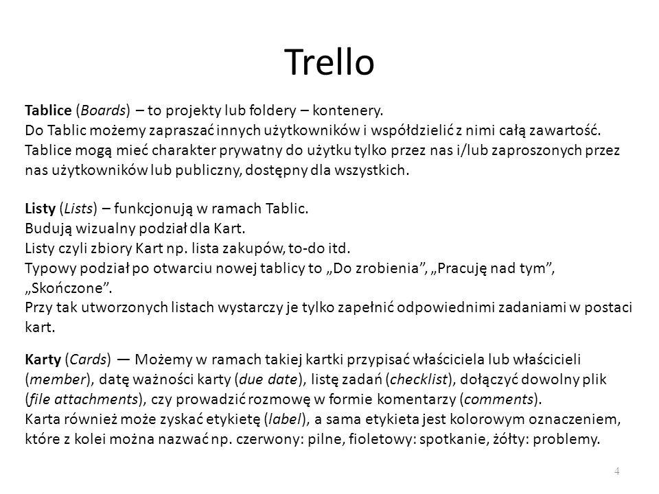 Trello 4 Tablice (Boards) – to projekty lub foldery – kontenery.
