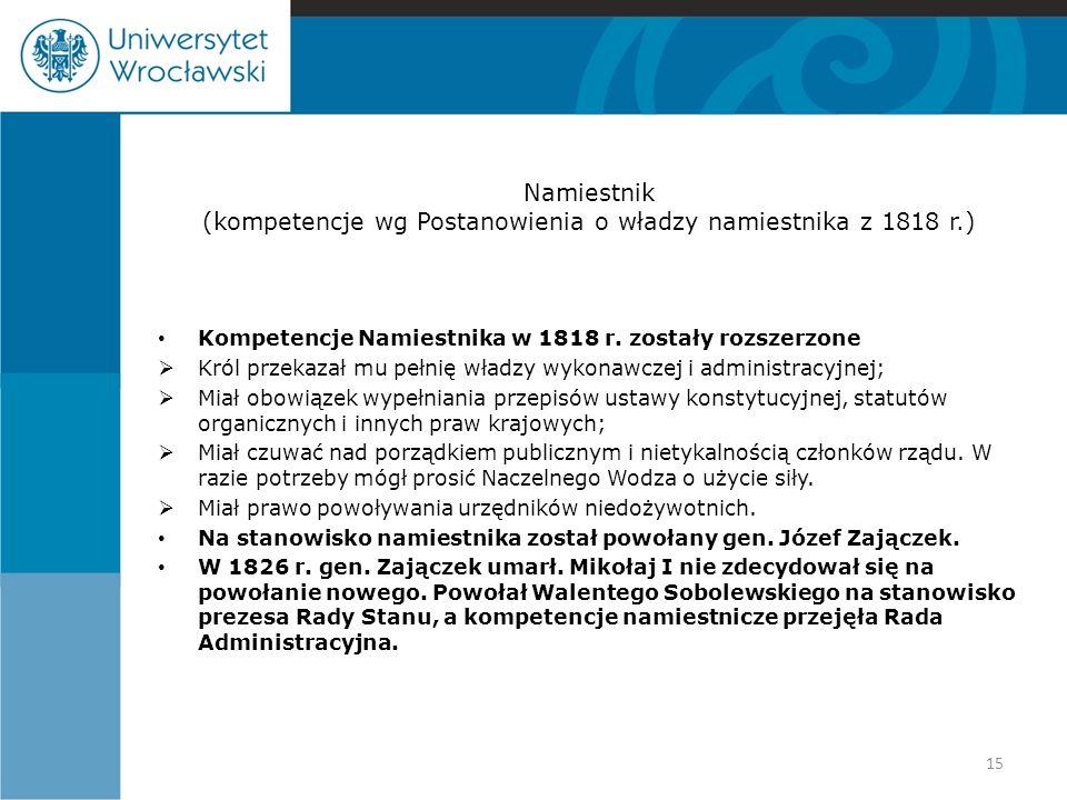 Namiestnik (kompetencje wg Postanowienia o władzy namiestnika z 1818 r.) Kompetencje Namiestnika w 1818 r. zostały rozszerzone  Król przekazał mu peł