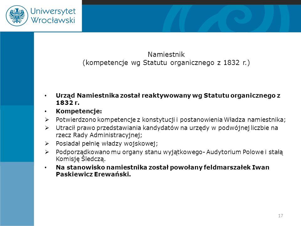 Namiestnik (kompetencje wg Statutu organicznego z 1832 r.) Urząd Namiestnika został reaktywowany wg Statutu organicznego z 1832 r. Kompetencje:  Potw