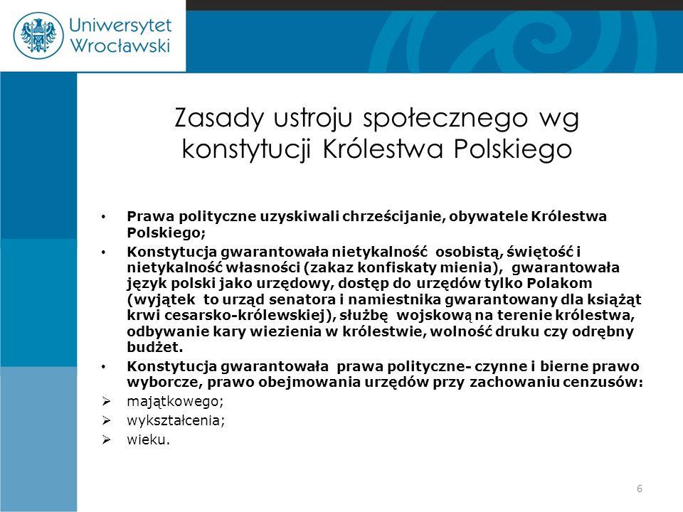 Zasady ustroju społecznego wg konstytucji Królestwa Polskiego Prawa polityczne uzyskiwali chrześcijanie, obywatele Królestwa Polskiego; Konstytucja gw