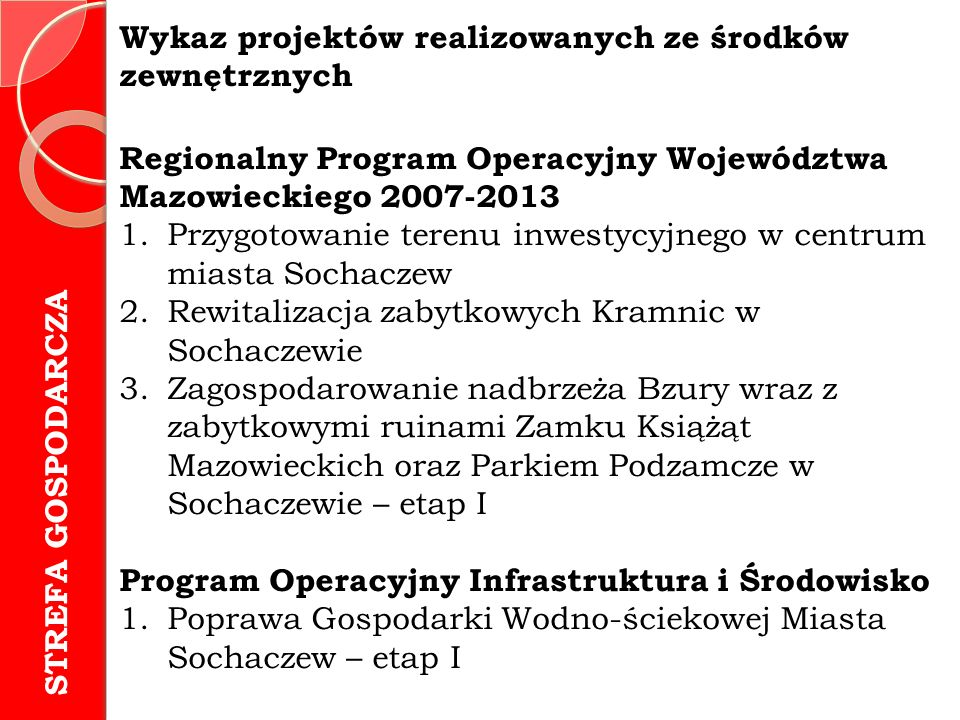 Wykaz projektów realizowanych ze środków zewnętrznych Regionalny Program Operacyjny Województwa Mazowieckiego 2007-2013 1.Przygotowanie terenu inwestycyjnego w centrum miasta Sochaczew 2.Rewitalizacja zabytkowych Kramnic w Sochaczewie 3.Zagospodarowanie nadbrzeża Bzury wraz z zabytkowymi ruinami Zamku Książąt Mazowieckich oraz Parkiem Podzamcze w Sochaczewie – etap I Program Operacyjny Infrastruktura i Środowisko 1.Poprawa Gospodarki Wodno-ściekowej Miasta Sochaczew – etap I