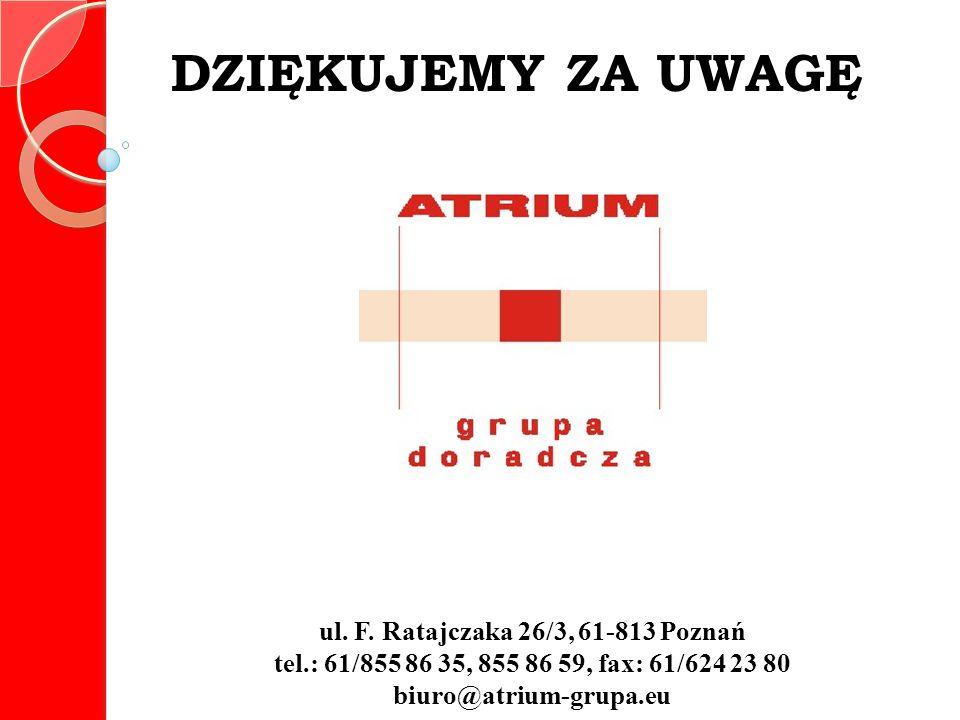 ul. F. Ratajczaka 26/3, 61-813 Poznań tel.: 61/855 86 35, 855 86 59, fax: 61/624 23 80 biuro@atrium-grupa.eu DZIĘKUJEMY ZA UWAGĘ