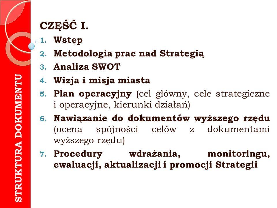 CZĘŚĆ I. 1. Wstęp 2. Metodologia prac nad Strategią 3. Analiza SWOT 4. Wizja i misja miasta 5. Plan operacyjny (cel główny, cele strategiczne i operac