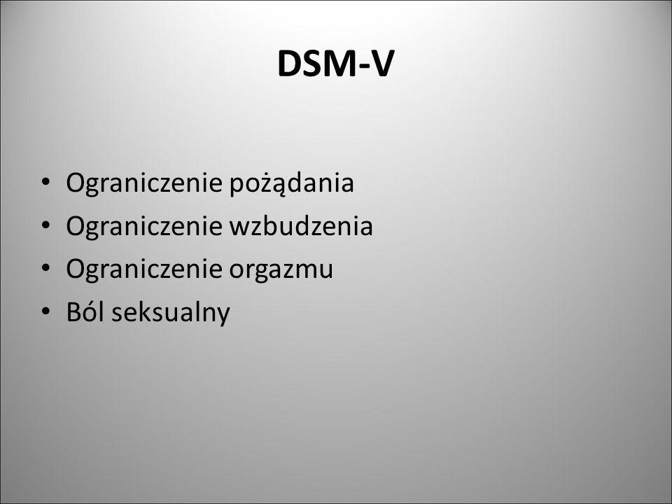 DSM-V Ograniczenie pożądania Ograniczenie wzbudzenia Ograniczenie orgazmu Ból seksualny